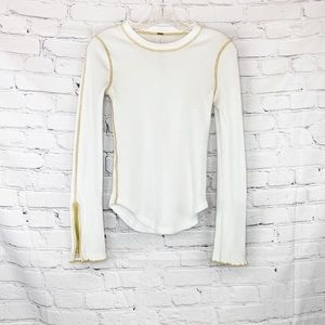 Free people white thermal with zipper hem